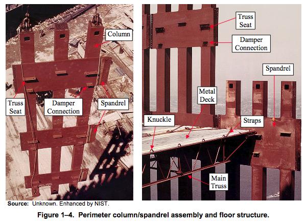 section d'une des 2 tours jumelles : on distingue bien les colonnes centrales (en rouge) et les colonnes périphériques