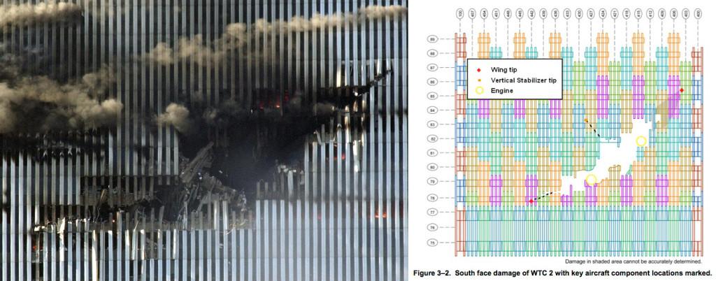 photo trou WTC2 + fig. 3.2 NIST NCSTAR 1 p39