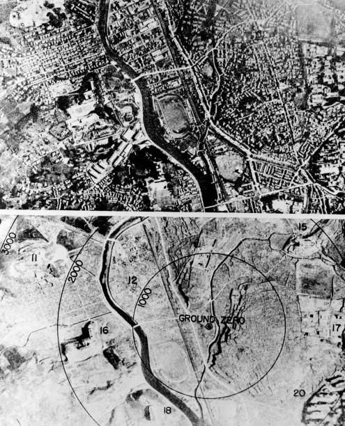 Nagasaki, avant/après. Les nombres sur les cercles sont les distances en pieds (1 pied = 30,5 cm) depuis le point directement à la verticale de l'explosion (GROUND ZERO).<br>(Associated Press)