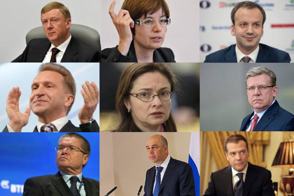 La 5e colonne russe: Chubais, Iudaeva, Dvorkovich, Shukalov, Nabiullina, Koudrine, Silouanov, Medvedev.