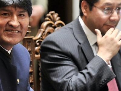 Evo Morales, lorsqu'il était président, <br>avec son dauphin, Luis Arce.
